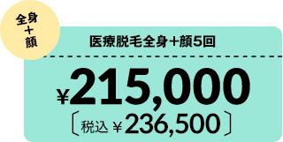 医療脱毛全身+顔5回¥215,000 税込¥236,500
