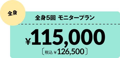 医療脱毛全身5回モニタープラン¥115,000 税込¥126,500