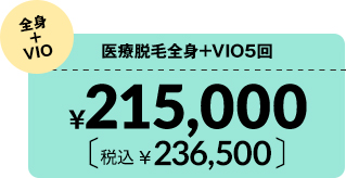 医療脱毛全身+VIO5回¥215,000 税込¥236,500